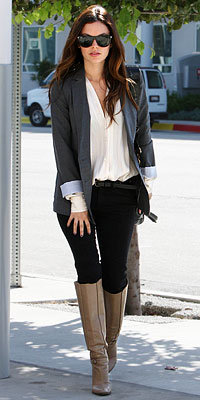 Rachel Bilson with a Derek Lam bag and Mayle boots