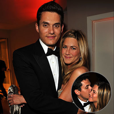 John Mayer in Salvatore Ferragamo, Jennifer Aniston in Valentino Couture, 2009 Oscar After-Parties, Academy Awards, Vanity Fair Party