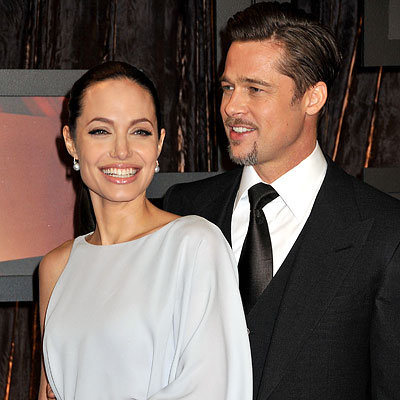Angelina Jolie in Max Azria and Brad Pitt, 2009 Critics Choice Awards, Los Angeles