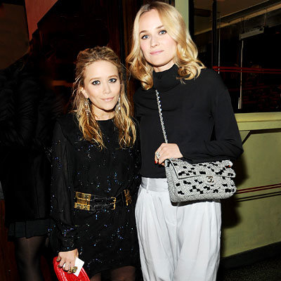 Mary-Kate Olsen in Nina Ricci and TopShop, Diane Kruger in Alexander McQueen and Chanel, 2009 Chanel Tribeca Film Festival dinner, New York City