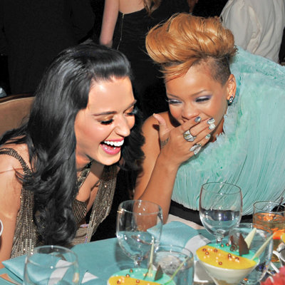 Katy Perry and Rihanna laughing