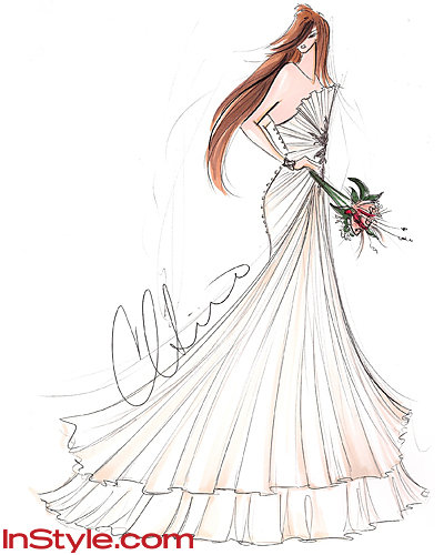 fashion designers sketch kate middletons wedding dress