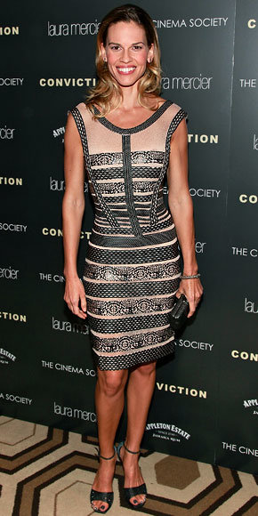 Hilary Swank in Herve Leger by Max Azria