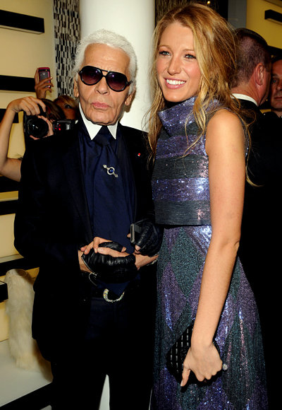 Karl Lagerfeld and Blake Lively at the Chanel Soho Party in New York City