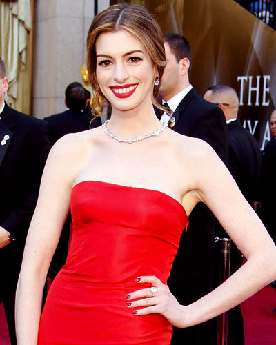Anne Hathaway - Hot Star Nail Polish Trends - Red Nails