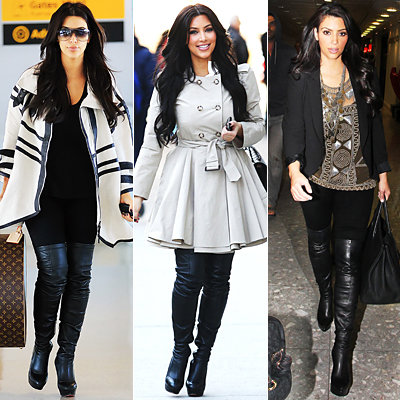 Kim Kardashian in Christian Louboutin over-the-knee boots