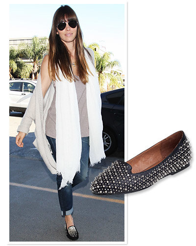 Jessica Biel - Star Travel Style - Studded Slip-Ons - Jeffrey Campbell