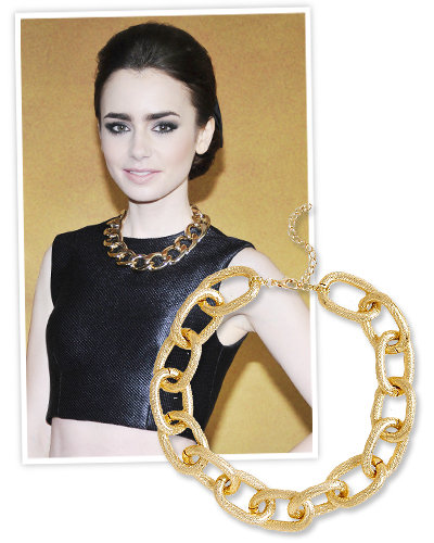 Lily Collins and Chain Necklaces