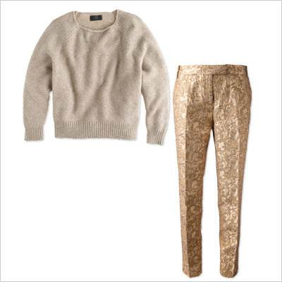 Cozy Sweater + Brocade Pants