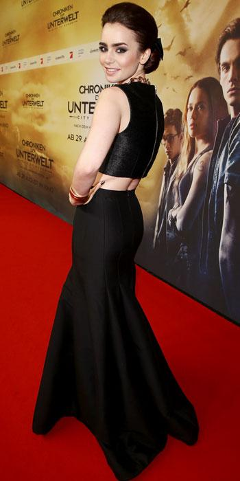 Lily Collins in Halston Heritage