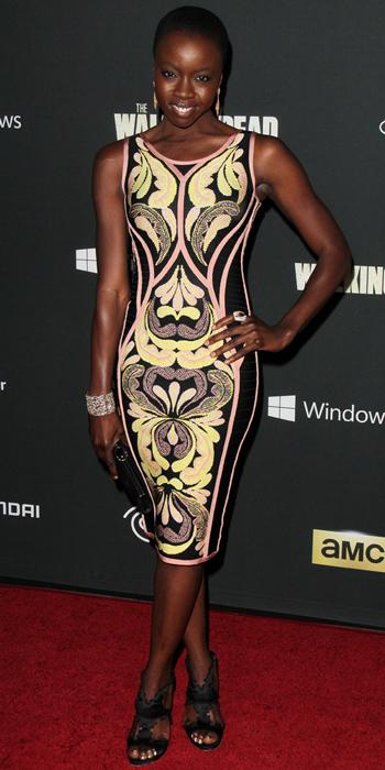 Danai Gurira in Herve Leger by Max Azria