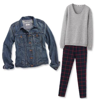 Madewell jean jacket with sweater and pants