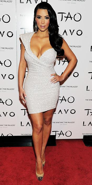 Kim Kardashian 2011 Looks - Marc Bouwer dress and Christian Louboutin pumps