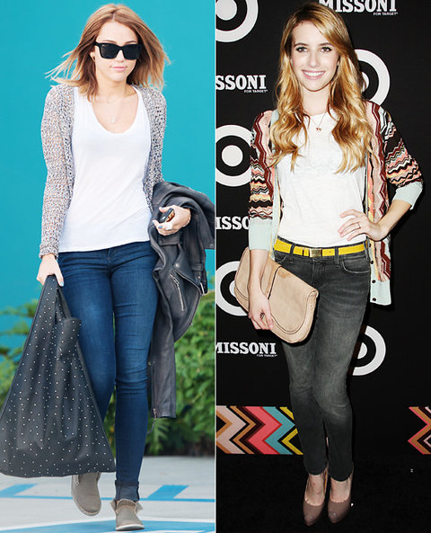 Emma Stone and Emily Van Camp jeans at work
