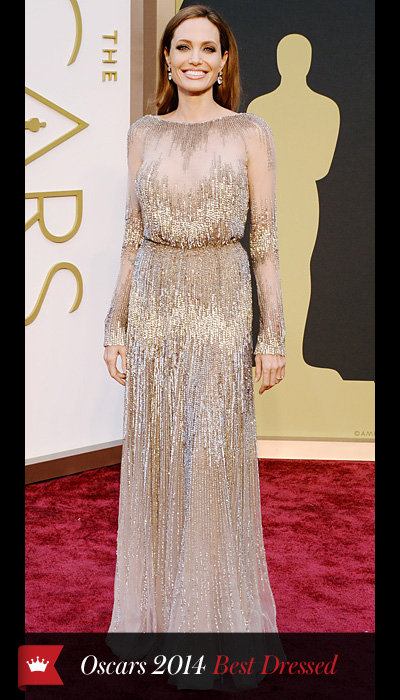 Oscars 2014 - Angelina Jolie in Elie Saab with Robert Procop earrings