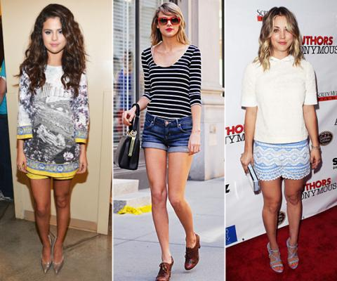 Selena Gomez, Taylor Swift, Kaley Cuoco, shorts