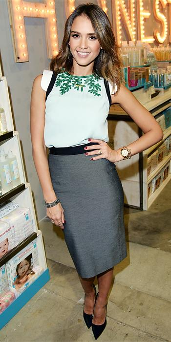 Jessica Alba in Andrew Gn and Marios Schwab