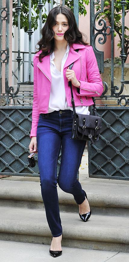 Emmy Rossum in J Brand and DL1961