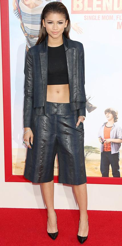 Zendaya in a metallic ensemble