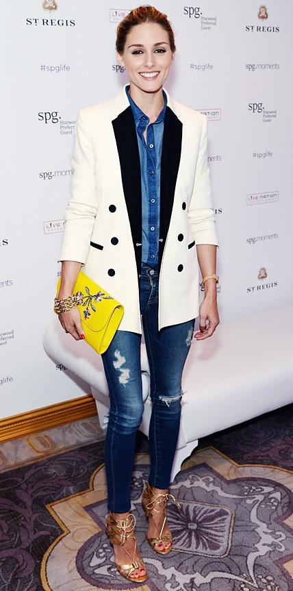 Olivia Palermo in Old Navy, AG Jeans & Whistles