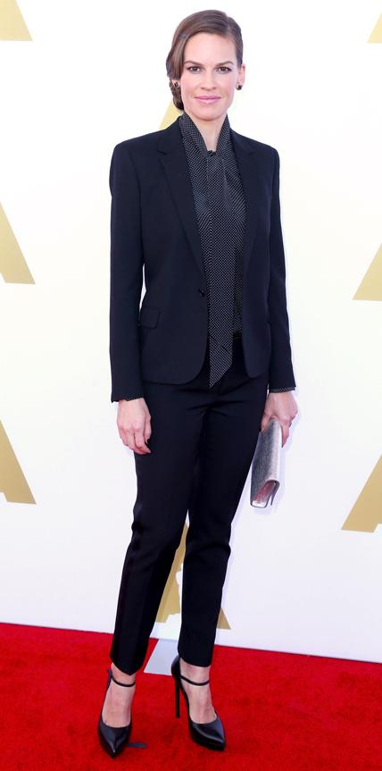 Hilary Swank in Saint Laurent