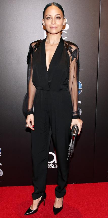 Nicole Richie in a black jumpsuit