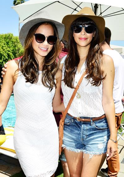 Jamie Chung and Hannah Simone at Coachella