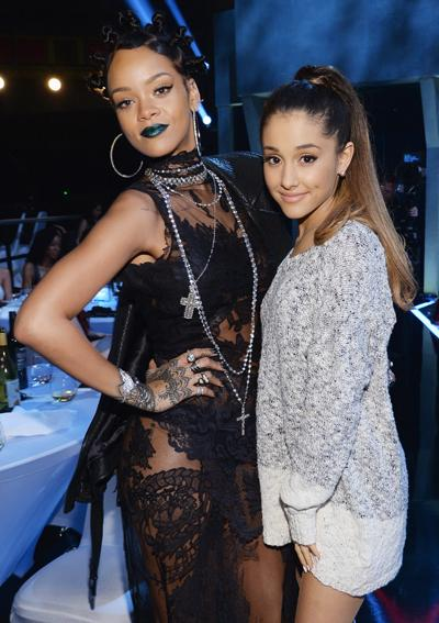 Rihanna and Ariana Grande attend the iHeartRadio Music Awards