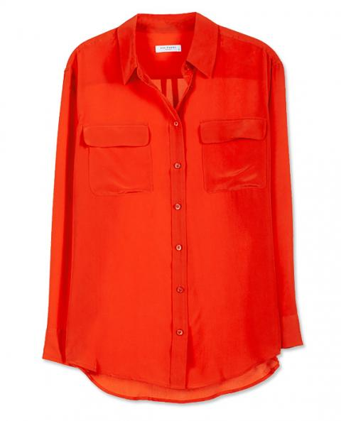 Equipment Signature Blouse in Fiery Red