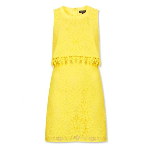 Topshop yellow crop top overlay lace dress