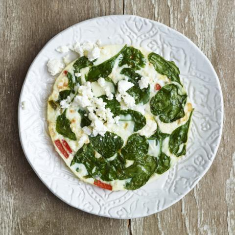 "Lea Michele's Breakfast of an egg white frittata from her book ""Brunette Ambition"""