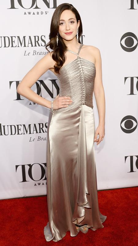 Actress Emmy Rossum attends the 68th Annual Tony Awards at Radio City Music Hall
