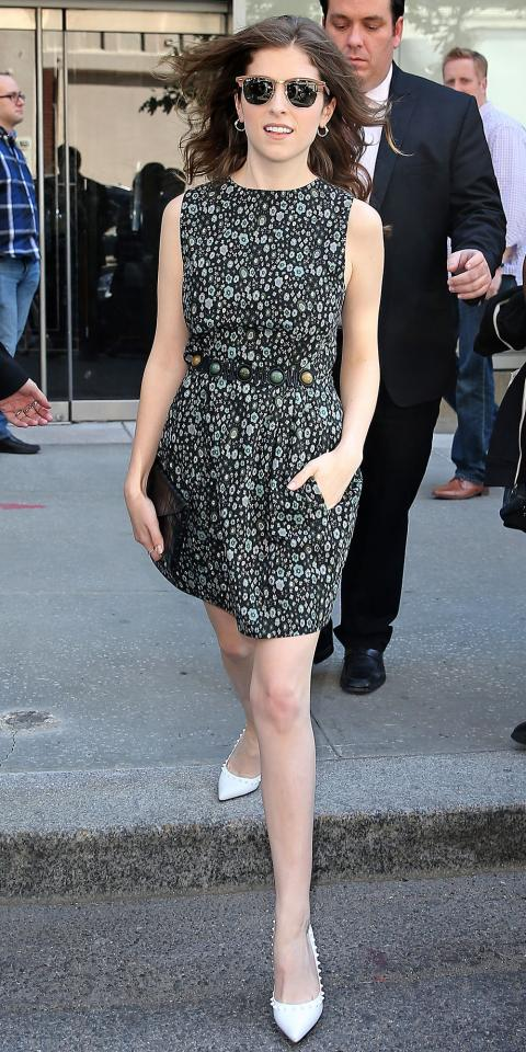 Actress Anna Kendrick leaves Trump Soho Hotel for USA Upfronts in New York City