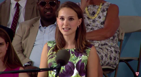 Natalie Portman giving a speech to the 2015 Harvard graduates