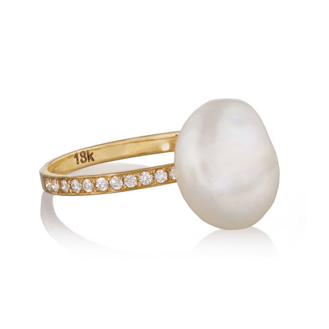 Halleh Pearl and Gold Ring