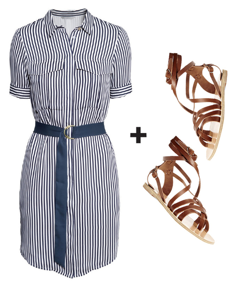 Perfect Pairs - shirtdress & sandals embed 1