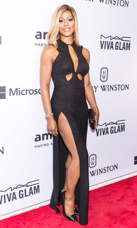 Actress Laverne Cox attends the 2015 amfAR Inspiration Gala New York at Spring Studios on June 16, 2015 in New York City.