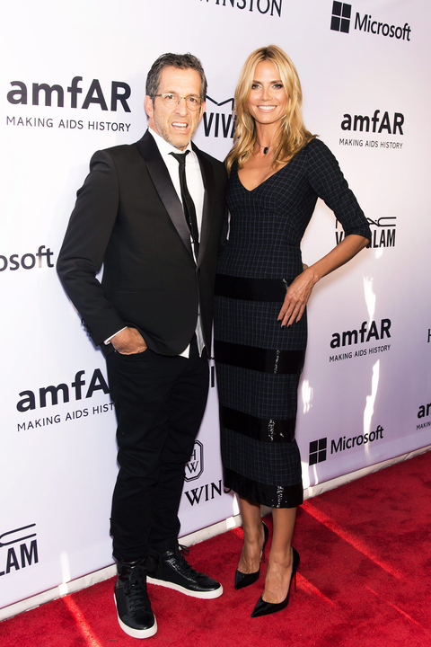 Model Heidi Klum and designer Kenneth Cole attend the 2015 amfAR Inspiration Gala New York at Spring Studios on June 16, 2015 in New York City.