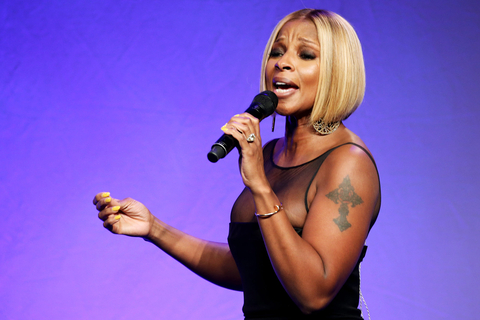 Mary J. Blige performs onstage at the 2015 amfAR Inspiration Gala New York at Spring Studios on June 16, 2015 in New York City.