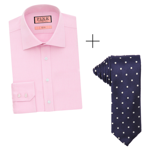 Father 39 s day gift ideas shirt and tie combinations for Pink shirt tie combo