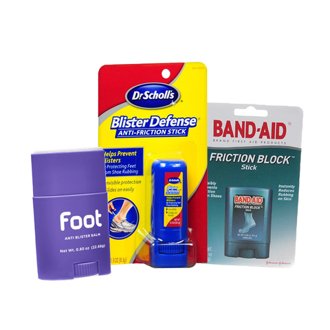 Foot Anti Blister Balm, Dr Scholl's Blister Defense Anti-Friction Stick, Band-Aid Friction Block Stick