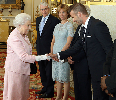 David Beckham and Queen Elizabeth