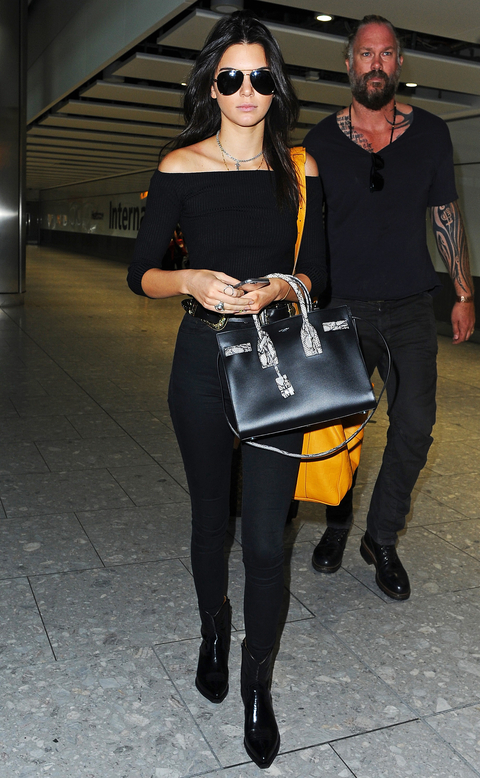 Kendall Jenner seen arriving at London Heathrow Airport this morning