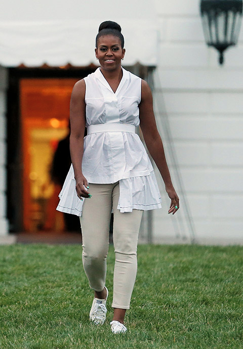 Image result for michelle obama white sneakers