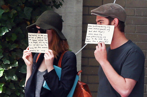 Andrew Garfield and Emma Stone are seen on June 17, 2014 in New York City.