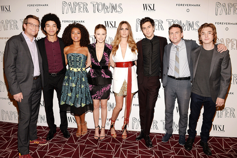Writer John Green, actors Justice Smith, Jaz Sinclair, Halston Sage, Cara Delevingne, Nat Wolff, director Jake Schreier, and actor Austin Abrams attend WSJ. Magazine And Forevermark Host A Special Los Angeles Screening Of  Paper Towns.