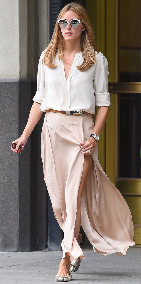 EXCLUSIVE: Olivia Palermo seen wearing a light pink long skirt in Brooklyn,New York