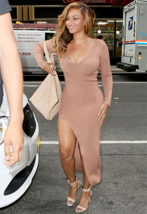 INF - Beyonce in a Nude Thigh High Slit Dress