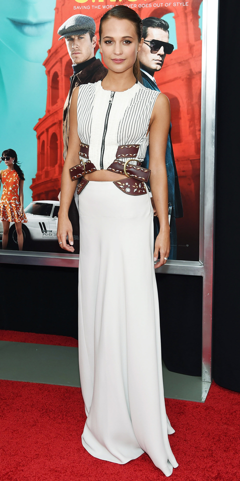 Actress Alicia Vikander attends the New York premiere of 'The Man From U.N.C.L.E.' at Ziegfeld Theater on August 10, 2015 in New York City.