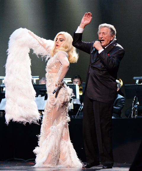 """Lady Gaga and Tony Bennett perform onstage in support of their award winning album """"Cheek To Cheek"""" at The Wiltern on February 8, 2015 in Los Angeles, California."""